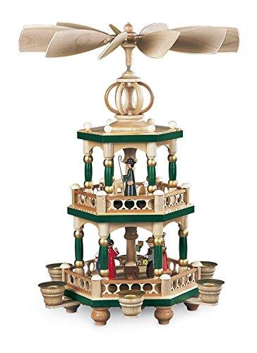 Tafelpiramide tafelpiramide heilige geschiedenis 2-verdiepingen gekleurd (LxBxH): 28x28x40cm NIEUW tafeldecoratie decoratie kerstmis warmte-spel lichten figuur edelhout zeep Ertsgebergte hout vleugels kaarsen