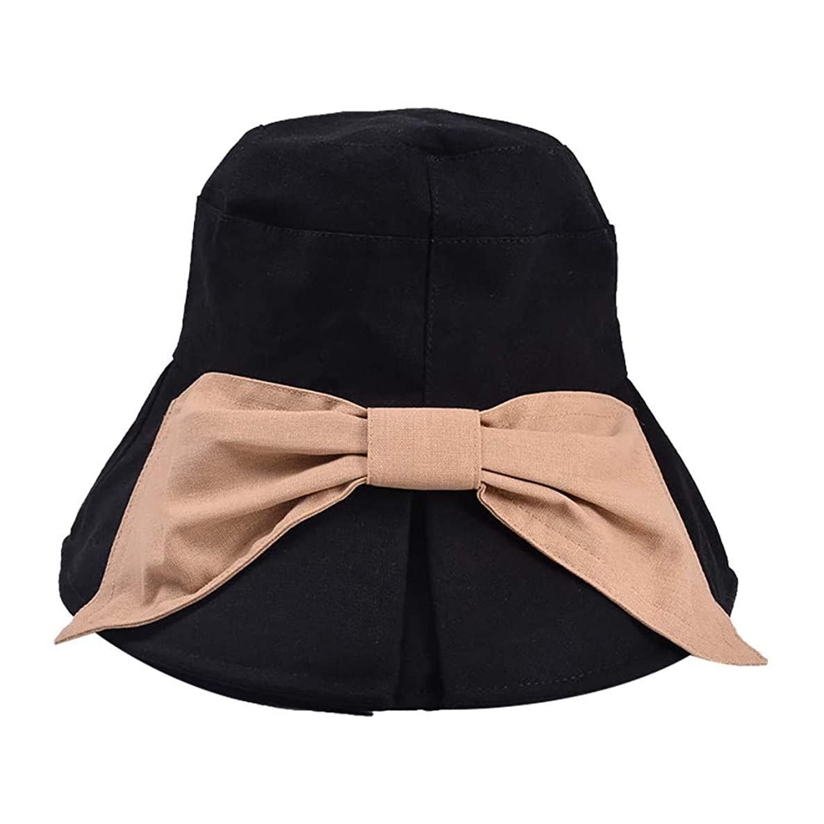 Outique Ladies Sun hat Women Casual Solid Wide Brimmed Floppy Foldable Beach Hat with Bow