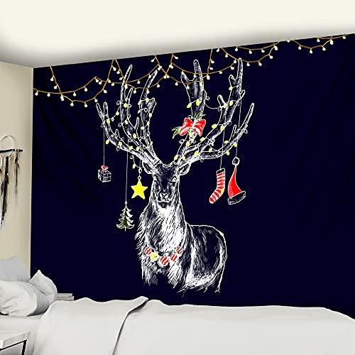 PPOU Feliz Navidad Escena de fantasía Tapiz Decoración Familiar Tapiz Árbol de Navidad Bohemia Fondo de Gran tamaño Manta de Tela A1 150x200cm