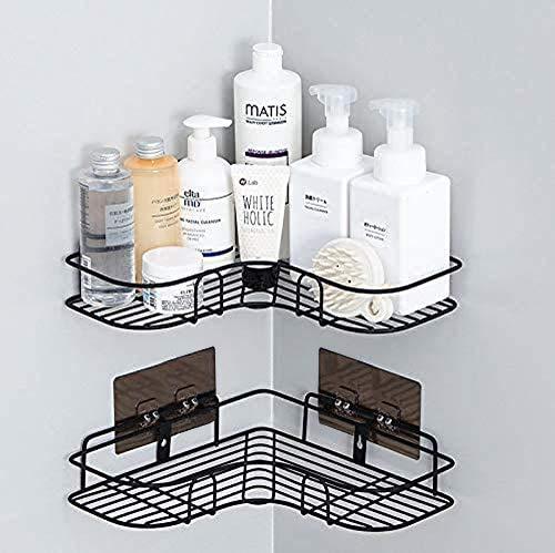 XIAPIA Duscheckregal ohne Bohren für Shampoo und Seifen | Rostfrei Duschhalterung mit Selbstklebender Kleber für Badezimmer 30 * 19 * 6 cm 2 Stück Schwarz