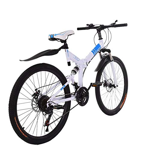 gbdaet Shimanos Mountain Bike ,26 inch, 21-Speeds Bicycle ,Full Suspension MTB Bikes for a Path, Trail & Mountains (53.1x28.3x7.8in, White)