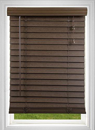 DEZ Furnishings QADO310480 Corded 2 Inch Faux Wood Blind, Dark Oak, 31W x 48L Inches