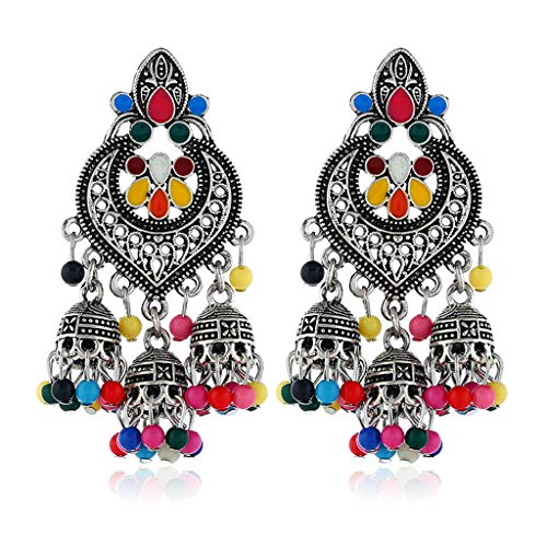 YIFEIJIAO, Retro Indian Bollywood Kundan Jhumka Jhumki Pendientes de Gota Joyería de Moda Gitana-Dinero Colorido Viejo