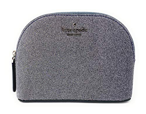 Kate Spade New York Small Joeley Glitter Dome Cosmetic Make-Up Travel Bag (Dusknavy)