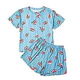 N\P Verano Plus Size Pijama para mujer, camiseta y pantalones cortos, traje de dos piezas azul XL