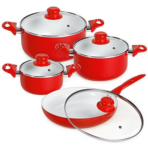 TecTake Set bateria de cocina ollas cerámica 8 piezas con tapas de cristal con sartén - disponible en diferentes colores - (Rojo | No. 401194)
