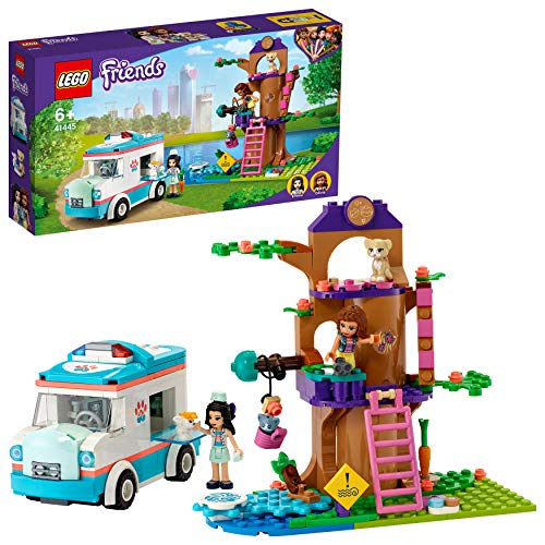 LEGO 41445 Friends Vet Clinic Ambulance Toy Car, Animal Rescue Playset with Olivia and Emma Minidolls
