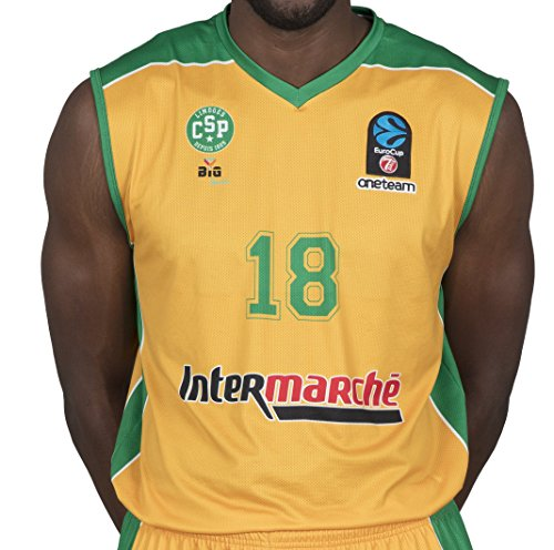 BIGSPORTS Replica Eurocup Limoges Csp Jaiteh 18 2017-2018 - Camiseta de Baloncesto para Hombre, Hombre, Color Amarillo/Verde, tamaño XS