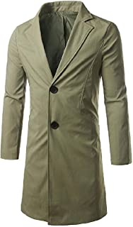 XINHEO Mens Spring/Autumn Fitted Single-Breasted Trench Coat Jacket Clothes
