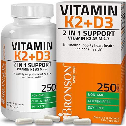 Vitamin K2 (MK7) mit D3 Nahrungsergänzungsmittel Knochen und Herz Gesundheit Nicht-GMO Formel 5000 IE Vitamin D3 & 90 mcg Vitamin K2 MK-7 Leicht zu schlucken Vitamin D & K Komplex 250 Kapseln