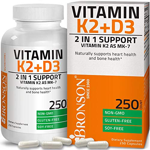 Vitamin K2 (MK7) with D3 Supplement Bone and Heart Health Non-GMO Formula 5000 IU Vitamin D3 & 90 mcg Vitamin K2 MK-7 Easy to Swallow Vitamin D & K Complex, 120 Capsules
