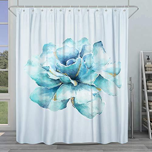 SUMGAR Duschvorhang mit Blumenmotiv, blau, Aquarell-Blumen, dekoratives Badezimmer-Vorhang-Set mit Haken, Frühlings-Moderner, wasserdichter Stoff, 183 x 183 cm