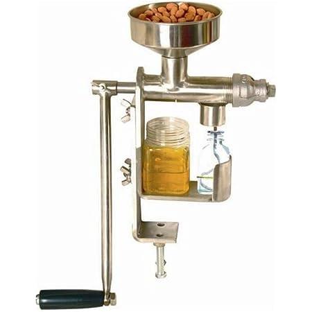 Genmine 手動油絞り器 卓上油絞り器 手動式 搾油機 家庭用 ピーナッツ、ヒマワリの種、茶の種子、ゴマの種子、クルミ、ココナッツオイル、亜麻仁などに適用 シルバー