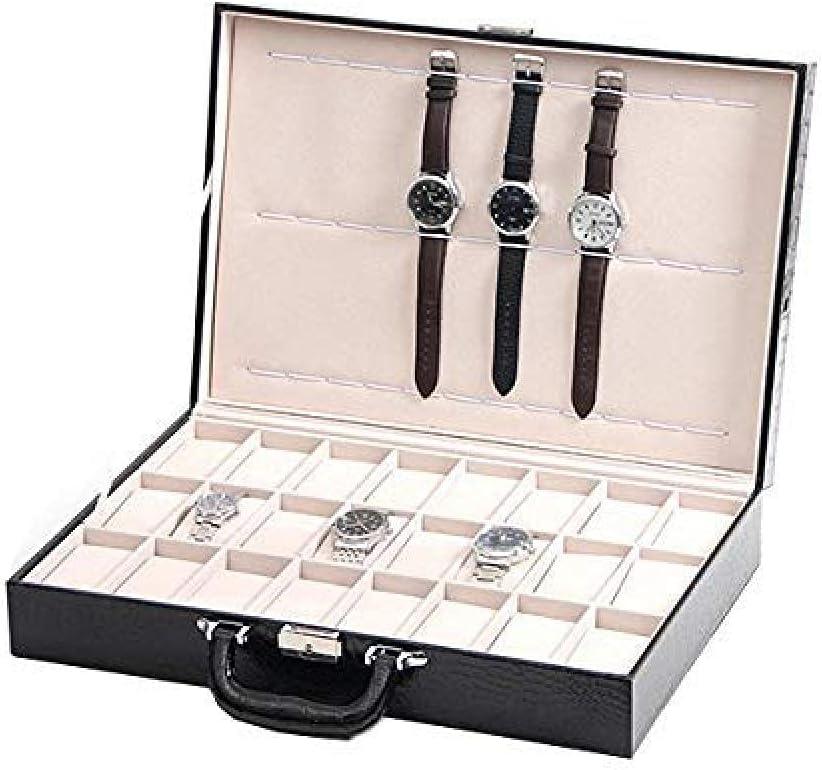 T.T-Q Caja de reloj negra de 24 bits Caja de presentación Cajas para relojes Caja de almacenamiento de reloj Caja de joyería de regalo de cumpleaños para almacenamiento y visualización 43 * 29.5 * 9cm
