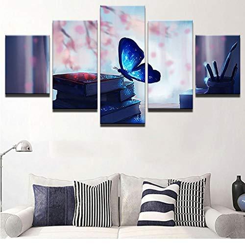 Wuyii Moderne fotolijst voor decoratieve foto's op canvas, 5 panelen foto vlinders mooie afbeeldingen muur voor decoratie in de kinderkamer. 30x40cmx2/30x60cmx2/30x80cmx1