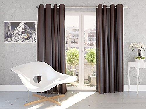 Splendid Silk - Cortina de confección con ollaos (140 x 245 cm), Color Chocolate