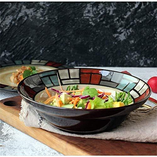 Good dress Tazones de Almacenamiento para el Hogar Tazón Grande de Cerámica para Sopa de Fideos, Tazón de Ramen de Espagueti, Tazón de Ensalada de Frutas, Tazón de Paja de Avena, Tazón Apto para Micr