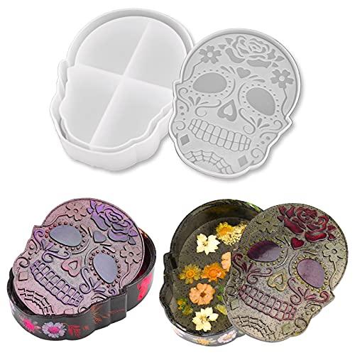 Jewelry Box Resin Mold Silicone, Halloween Skull Storage Box Epoxy...