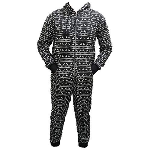 Boom Prime - Tuta intera da uomo e donna, con cappuccio stampato, unisex, per adulti Renna nera. M