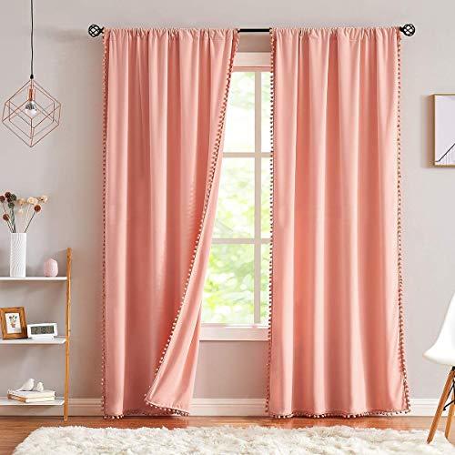 "Treatmentex Pompom Velvet Curtains for Bedroom 95"" Blush Pink Window Curtain Set Decorative Room Darkening Drapes Cotton Feel Soft 2Panels 42"" w"