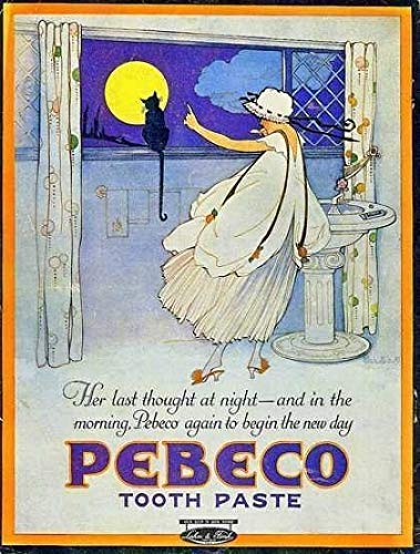 """nobrand Personalized Home Decoration PEBECO Tooth Paste 1910 Old Advert Large Metal TIN Sign Poster Vintage Style 8""""x12"""""""