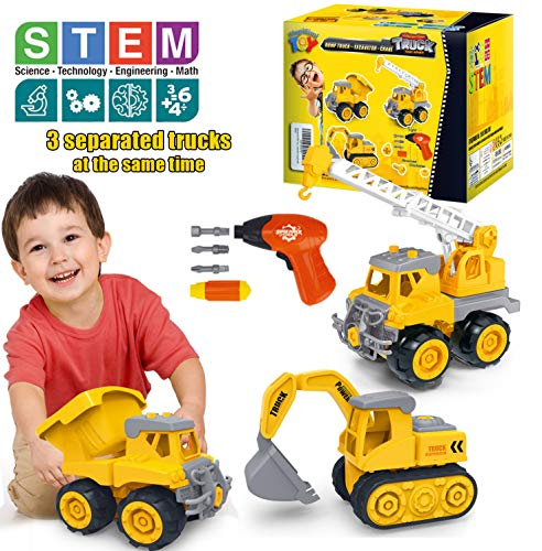 HAPISIMI Take Apart Construction Vehicle Set of 3, Dump Truck, Crane, Excavator with Electric Drill & Tools, STEM Education Build & Play Toy Best Gifts Idea Kids 3-6 Years-Old