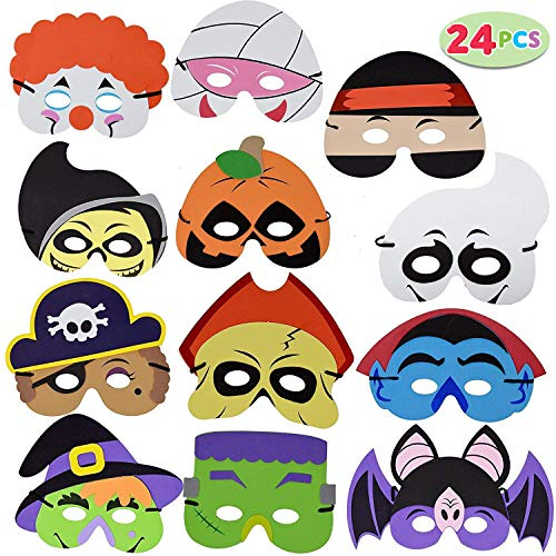 JOYIN 24 Pieces Halloween Foam Mask for Kids Halloween Party Favors, Halloween Crafts Supplies and Halloween Prizes…