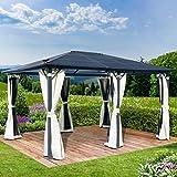 BRAST Alu-Pavillon Premium 3.6x4.8m beige festes Dach wasserdicht + Moskitonetz 2 Farben 3 Größen 16 Modelle