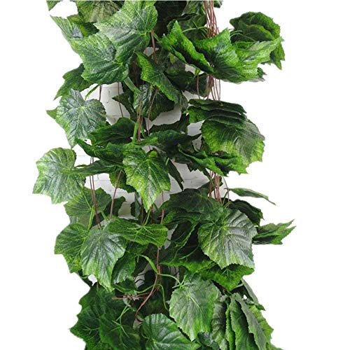 Sleipmon 8 Ft Artificial Ivy Greenery Chain Grape Leaves Vine Foliage Simulation Flowers Vine Grape Leaves Plants For Home Room Garden Wedding Garland Outside Decoration,Pack of 5