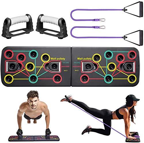 Tabla Push Up, 13 en 1, plegable, con cinta de resistencia, para entrenamiento, gimnasio, para el hogar, para hombres, mujeres