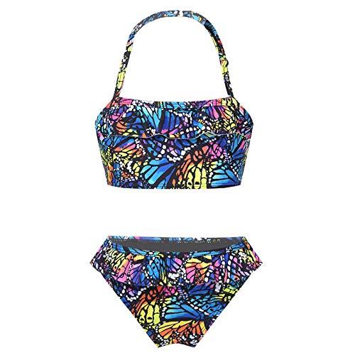 Alvivi Mädchen Bikini Set Zweiteiler Badeanzug Leopard Druck Bikini Tops mit Slip Kinder Badebekleidung Sommer Bademode Schmetterling 122-128