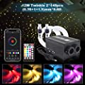 Car Use Bluetooth Twinkle RGBW Fiber Optic Light, APP/Remote Music Mode Star Ceiling Headliner Light Kit Mixed 296pcs(0.03in+0.04in+0.06in)9.8ft