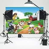 LYWYGG 7x5FT Fondo de Dibujos Animados Fotografía Granja Fondo Rojo Granero Granja de Corral Fondo pintoresco Campo Fondo Lindo Animales de Granja Fotografía de bebé Telón de Fondo CP-164