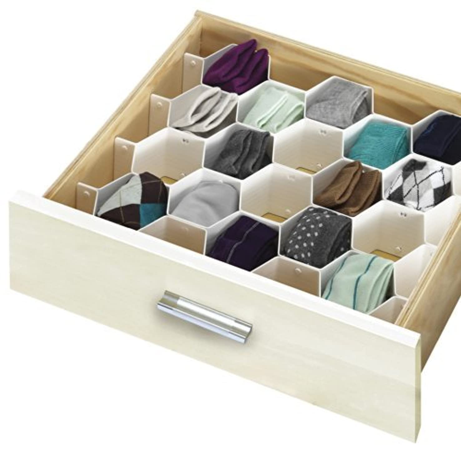 Simplify 34 Compartment Honeycomb Design Drawer Organizer, White