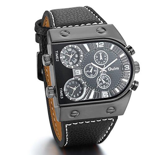 JewelryWe Reloj Pulsera Cuarzo Luxe montrant 3 Tiempo de Pulsera de Piel para Hombre De Negocios, Regalo Navidad