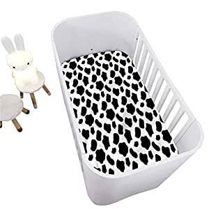 Cow Print Crib Fitted Sheet,Cow Skin with Spots Decorative Microfiber Crib Sheet for Standard Crib and Toddler mattresses Nursery Bedding Sheet Crib Mattress Sheets for Boys and Girls,28″ x 52″
