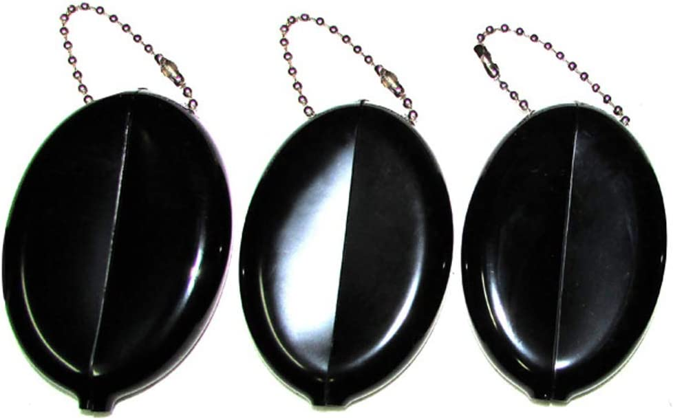 3 BLACK SQUEEZE COIN HOLDERS | Great for Travel Multi-purpose | Made in USA