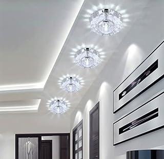 Lámpara LED de techo de cristal, iluminación de pared, lámpara de techo (blanco)