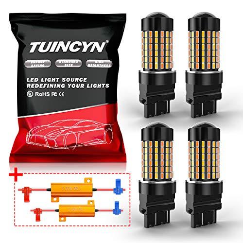 TUINCYN 3157 3157A Ampoule de clignotant à LED Switchback CANBUS avec résistances Bicolore Commutateur bicolore / arrière Retour Chipsets 3155 3457 4157 3156 6500K DRL (pack de 4)