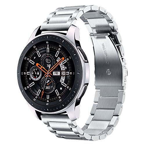 V-MORO Kompatibel mit Samsung Galaxy Watch 46mm Armband,22mm Solider Edelstahl Metall Ersatz Galaxy Watch 46mm Armband Uhrenarmband Bänder für Galaxy Watch 46mm SM-R800(Silber)