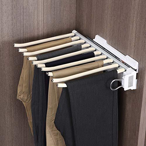 Perchero extraíble para pantalones, corbatero retráctil para armario doméstico, ahorro de espacio, varilla de flocado, profundidad de más de 48 cm, carga estable, universal izquierda/derecha /