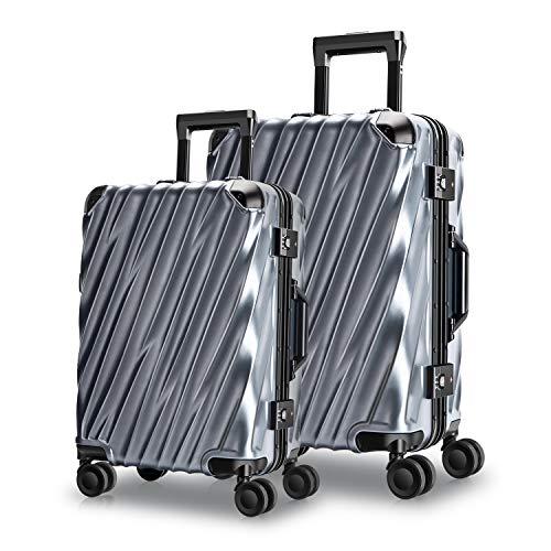 MORIOU Hartschalen-Koffer Rollkoffer Reisekoffer 45L+88L Aluminiumrahmen Reisekoffer Polycarbonat TSA-Schlüssel des Zolls Koffer Set, mit 4 Rollen (S-M-Set) (Blau, S+M Set)