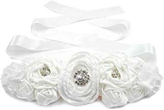 Lujuny Floral Bridal Maternity Sash Belt – Satin Ribbon Belly Band for Wedding Pregnant Baby Shower Party Photoshoot