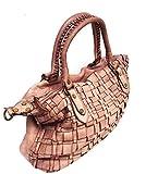 Superflybags Damentasche Hand- oder Schultertasche Modell ALMERIA In echtem Leder Geflochten Made In Italy