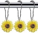 Sonnenblumen-Duschvorhang-Ringe, Haken, 12 Stück, 304 Edelstahl, Duschvorhangringe & Haken für Badezimmer Dusche Rutenhalter und Liner Gardinen (weiß)