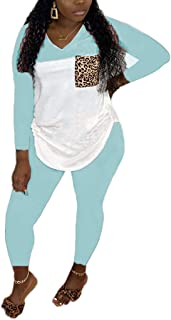 OLUOLIN Women's 2 Piece Outfit Casual Color Block Long Sleeve Top T-Shirts Tracksuit Bodycon Jumpsuit Rompers