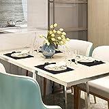 BaoWnylz Platzsets Leder Tischset PU Kunstleder Platzdecken Schwarz 4er Sets Abwaschbar Wasserdicht 45x30cm und Quadratischer Glasuntersetzer für Hause Küche Restaurant - 7