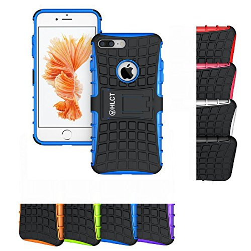 iPhone 8 Plus/7 Plus Stand Case, HLCT Rugged Shock Proof PC + TPU Dual-Layer Case with Built-in Kickstand (Blue)
