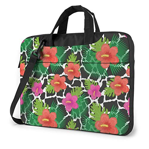 Tropical Flowers Plants Leaves and Cow Skin Cute Laptop Case Laptop Shoulder Messenger Bag Sleeve for 13 To15.6 Inch