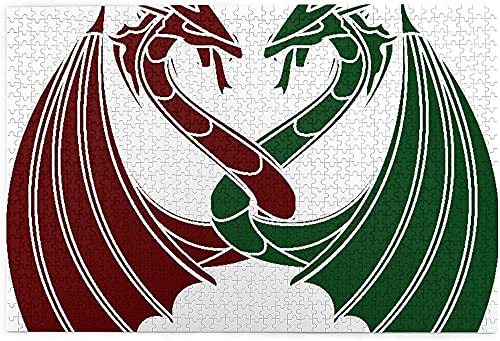 AMTTGOYY Pussel 1000-bitars pussel för barn Vuxenutmanande spel, drakar Tema Design Mytiska tidiga medeltida skandinaviska keltiska riddare